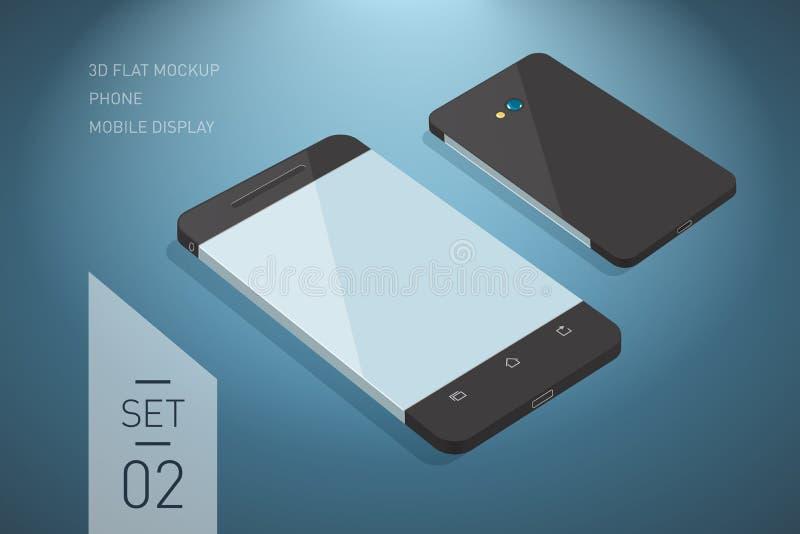 Minimalistic 3d isometrisk plan illustration av mobiltelefonen per royaltyfri illustrationer