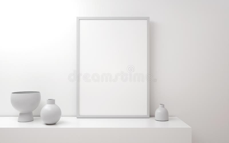 Minimalistic 3d a4 or a3 poster template in the interior. Mock up poster stock illustration