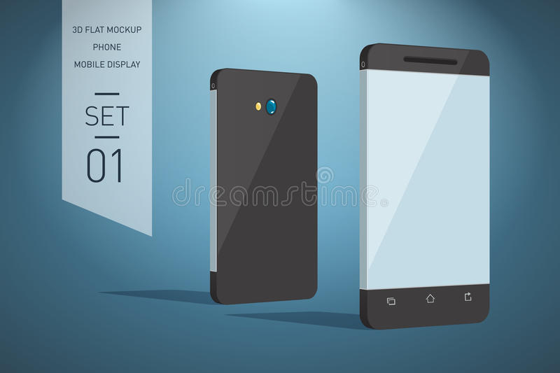 Minimalistic 3d sänker illustrationen av mobiltelefonen perspektiv V stock illustrationer