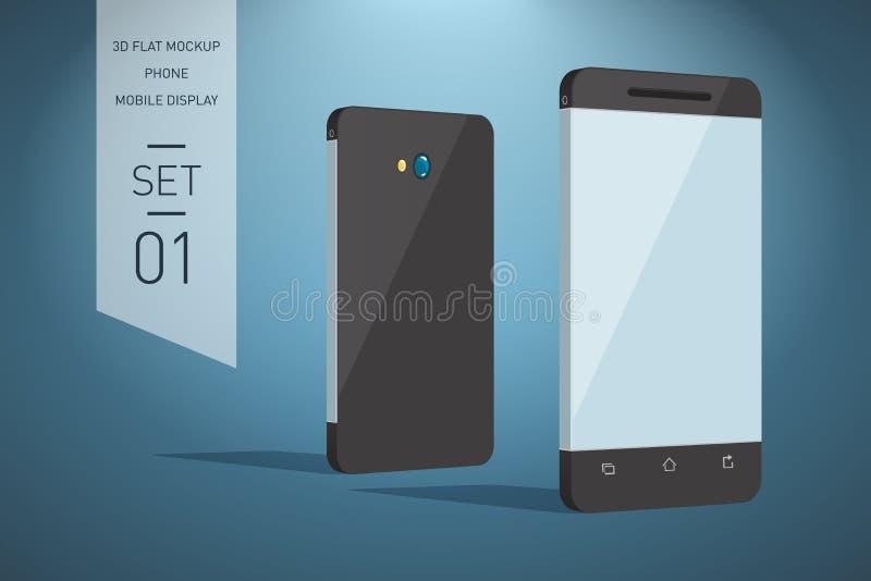 Minimalistic 3d vlakke illustratie van mobiele telefoon perspectief v stock illustratie