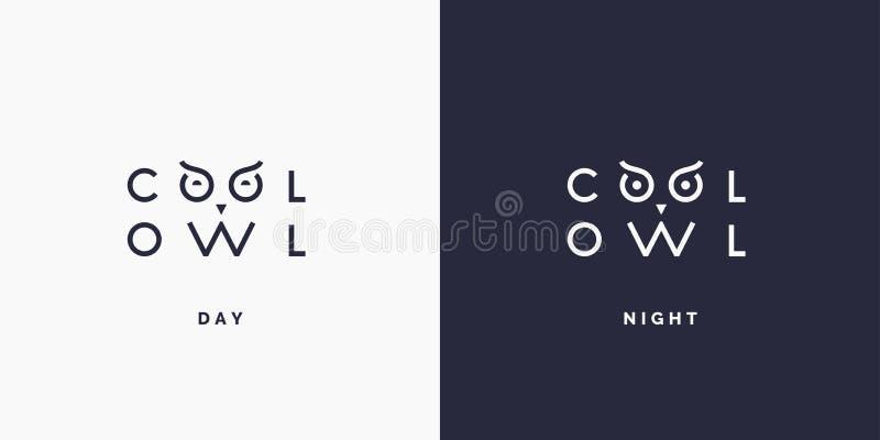 Minimalistic e coruja à moda do logotipo, tipografia moderna e identidade para sua empresa ilustração stock