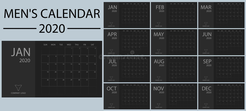 Minimalistic e vettore 2020 del calendario degli uomini puliti, semplici ed alla moda del nuovo anno Il nero e tonalità di grigio royalty illustrazione gratis