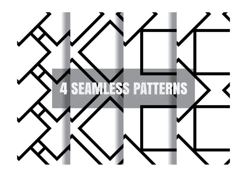 Minimalistic enkel geometrisk svartvit sömlös modell royaltyfri illustrationer