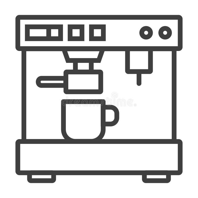 Minimalistic för kaffeespressomaskin plan linje översiktsslaglängdsymbol vektor illustrationer