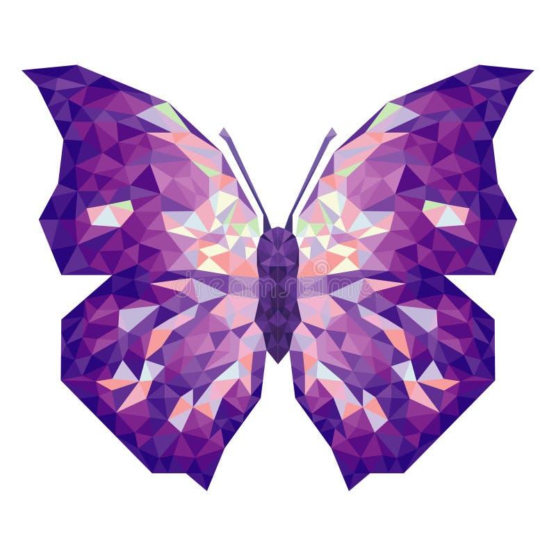Minimalistic fjäril i låg poly stil stock illustrationer