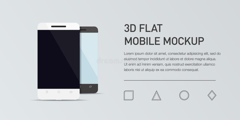 Minimalistic flat illustration of mobile phone. Mockup generic smartphone. vector illustration