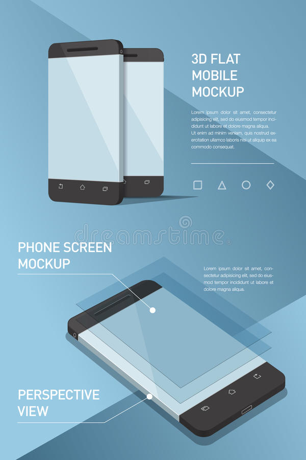 Minimalistic flat illustration of mobile phone. perspective view. Mockup generic smartphone. Template for infographics or presentation UI design. Concepts stock illustration