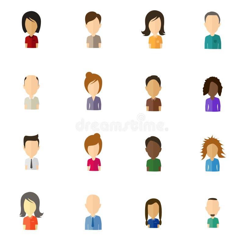 Minimalistic flat user icons with large head - set 2 vector illustration