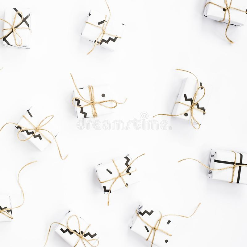 Minimalistic gifts. Holiday concept. Flatlay royalty free stock photos