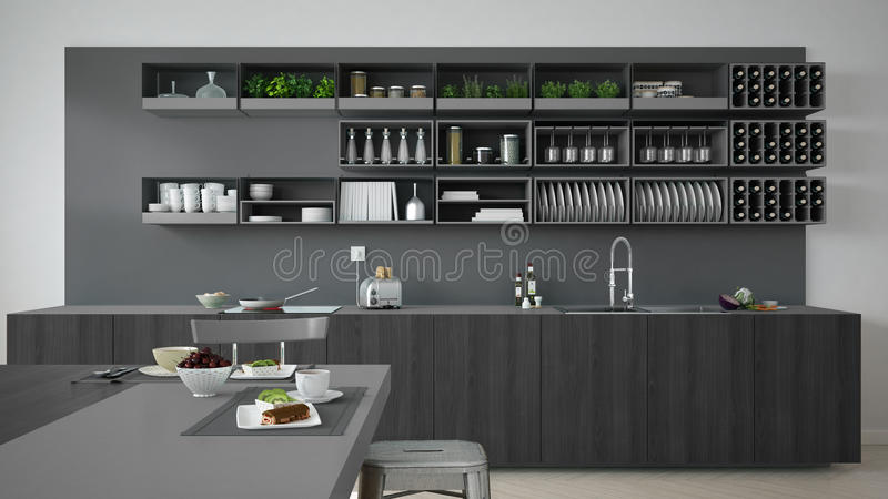 Download Minimalistic Gray Kitchen With Wooden And Gray Details, Vegetari Stock Illustration - Image: 82775978