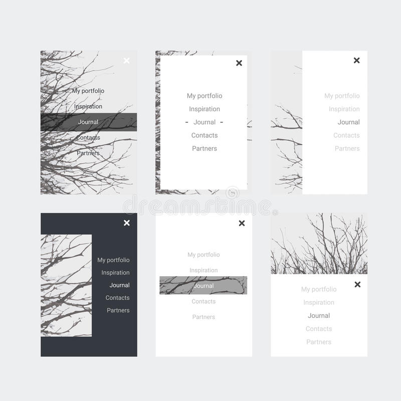 Minimalistic hipster UI Kit for designing responsive websites, mobile apps & user interface. Branch tree background. Monochrome. royalty free illustration