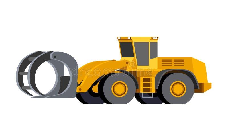 Log handler wheeled loader stock illustration