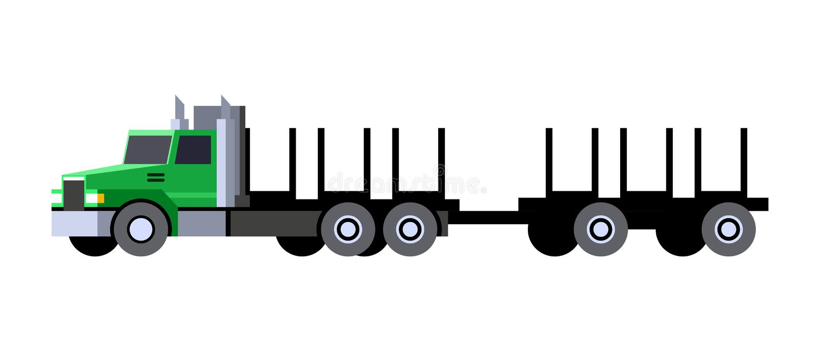 Logging truck with trailer cart royalty free illustration