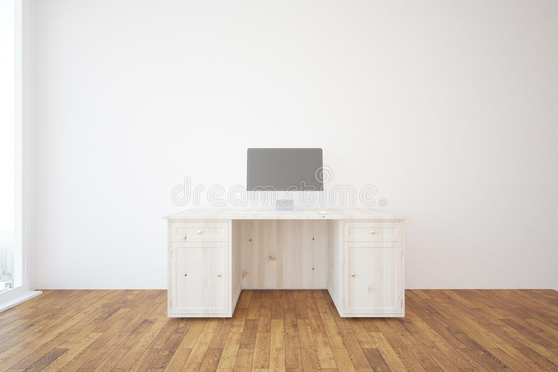 Minimalistic interior with computer. Minimalistic interior with wooden desk, blank computer screen, concrete wall and parquet flooring. 3D Rendering vector illustration