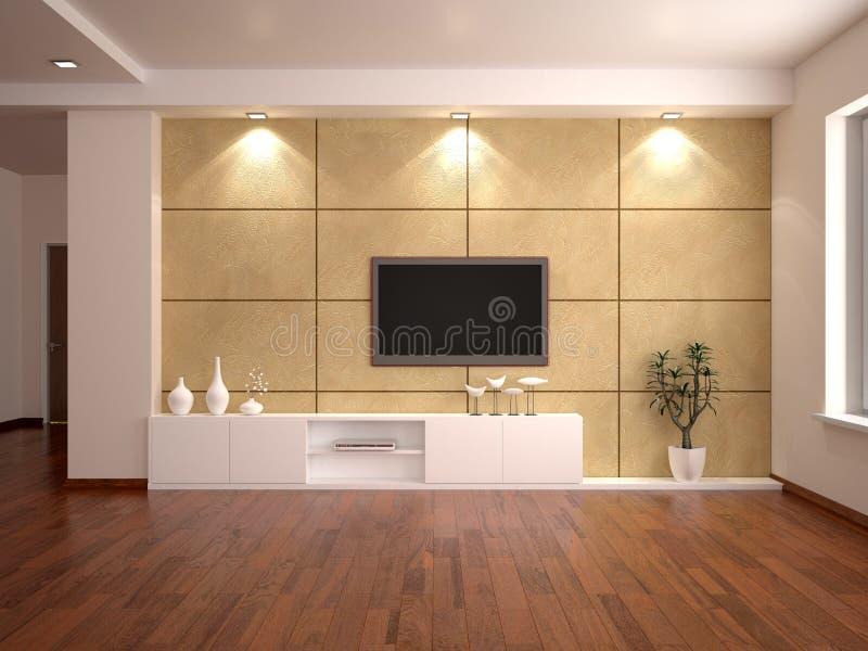 Minimalistic interior con una TV en la pared stock de ilustración