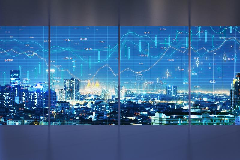 Trade and finance concept. Minimalistic interior with night New York city view and forex chart on windows. Trade and finance concept. Multiexposure vector illustration