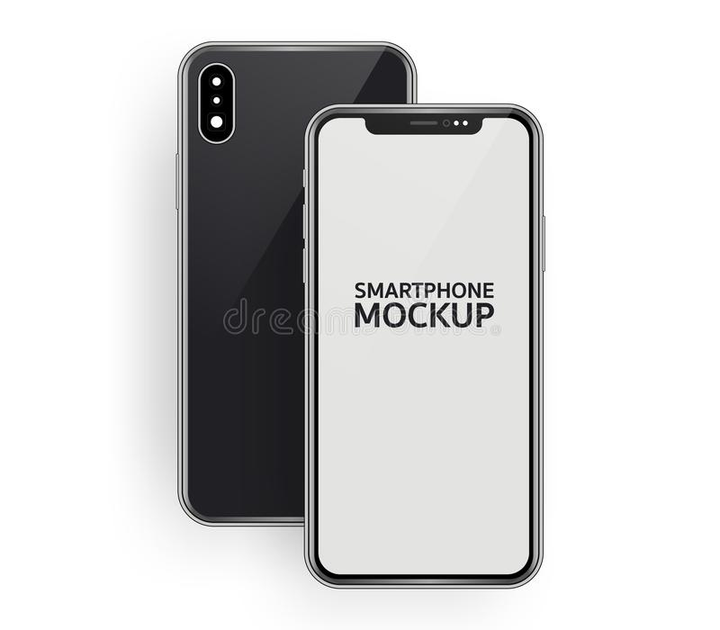 Minimalistic isometric illustration of smartphone front and back composition top view, mockup generic device. template for royalty free stock image