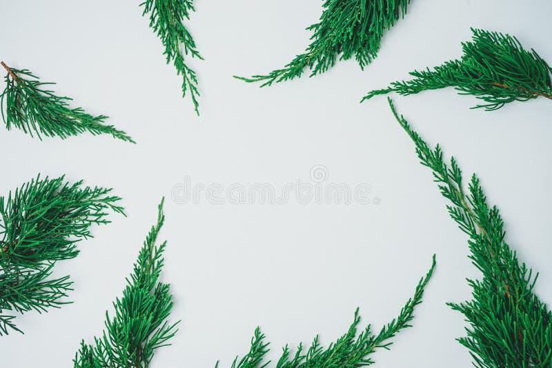 Minimalistic julgran på vit bakgrund Conce för nytt år arkivfoto