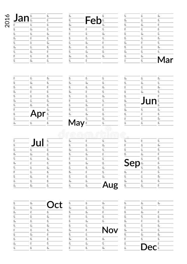 Minimalistic kalendarz 2016 ilustracja wektor