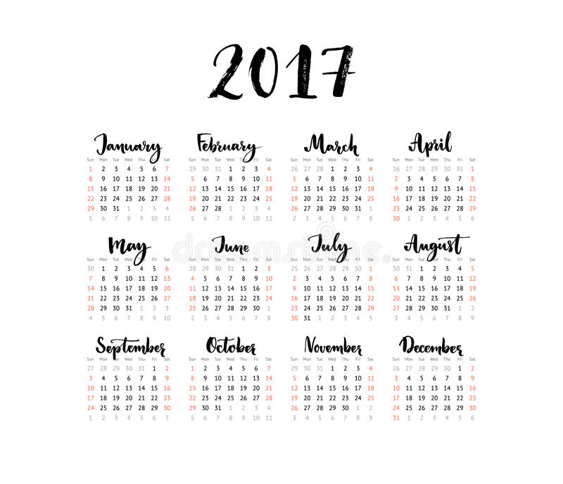 Minimalistic kalendarz, 2017 rok Tydzień Zaczyna Niedziela Ręcznie pisany miesiące Czarny i biały prosty projekt, jeden szkotowa  royalty ilustracja