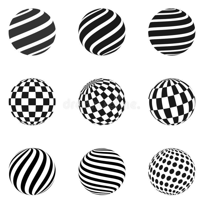Minimalistic kształty Halftone czerni koloru sfery ilustracja wektor