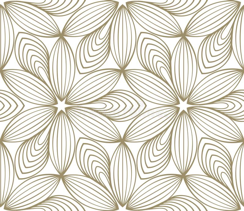 Minimalistic kwiatu wielostrzałowy liniowy wzór ilustracja wektor