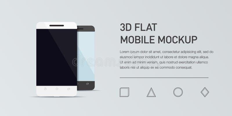 Minimalistic lägenhetillustration av mobiltelefonen Generisk smartphone för modell vektor illustrationer