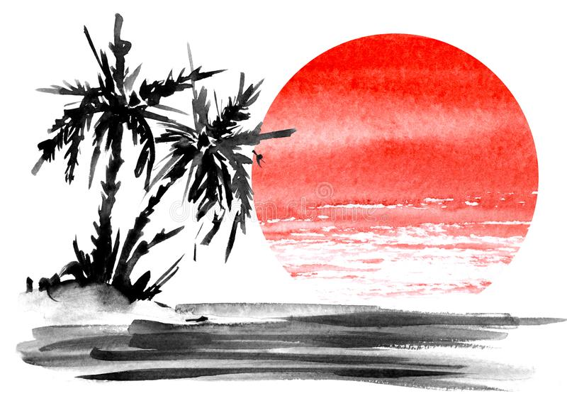 Minimalistic landscape. Dark silhouette of two palm trees on a small island in the middle of the ocean. Bright red circle of the setting sun. Hand-drawn vector illustration