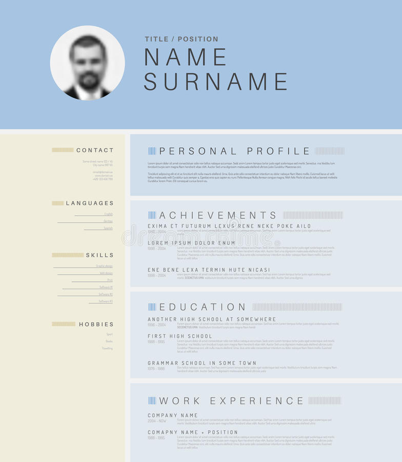 minimalistic light cv    resume template stock vector
