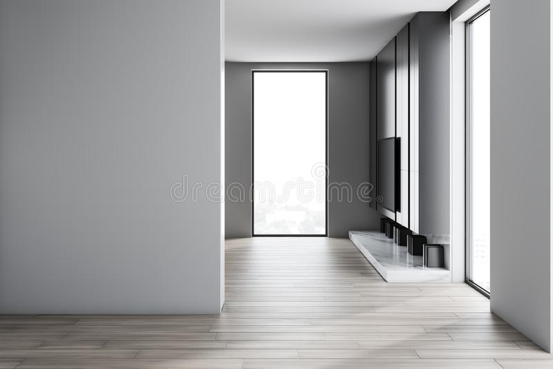 Minimalistic living room with TV and mock up wall. Interior of loft living room with white walls, wooden floor, modern TV hanging above white marble bookshelf royalty free illustration