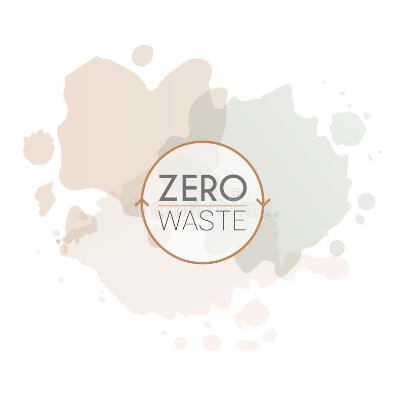 Minimalistic logotyp zero jałowych styl życia sklepów na akwareli tle royalty ilustracja