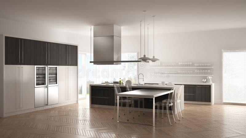 Minimalistic modernt kök med tabellen, stolar och parkettgolvet royaltyfri bild