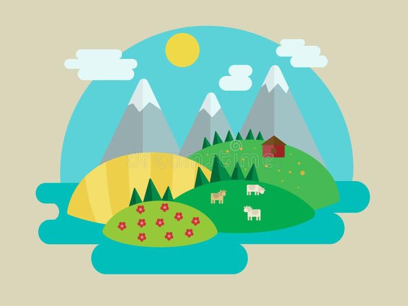 Minimalistic natury krajobrazu wektoru ilustracja ilustracji