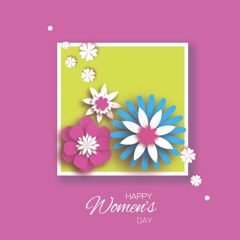Minimalistic o 8 de março Dia feliz do ` s das mulheres do origâmi Cartão floral Flores azuis cor-de-rosa cortadas papel Frame qu ilustração royalty free