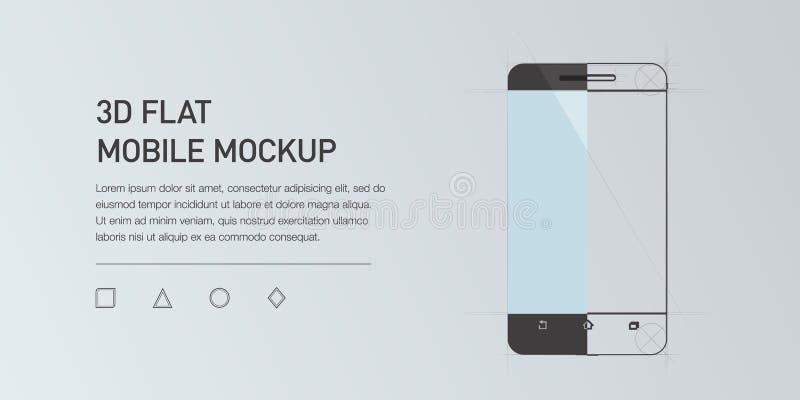 Minimalistic płaska ilustracja telefon komórkowy Mockup rodzajowy smartphone royalty ilustracja