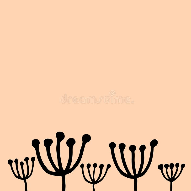 Minimalistic pink vector square background with hand drawn plants stock illustration