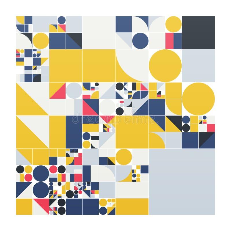 Minimalistic Plakat des Vektors mit einfachen Formen Verfahrensrechtlichesgeometrisches Schweizer Artzusammenfassungsplan Begriff vektor abbildung