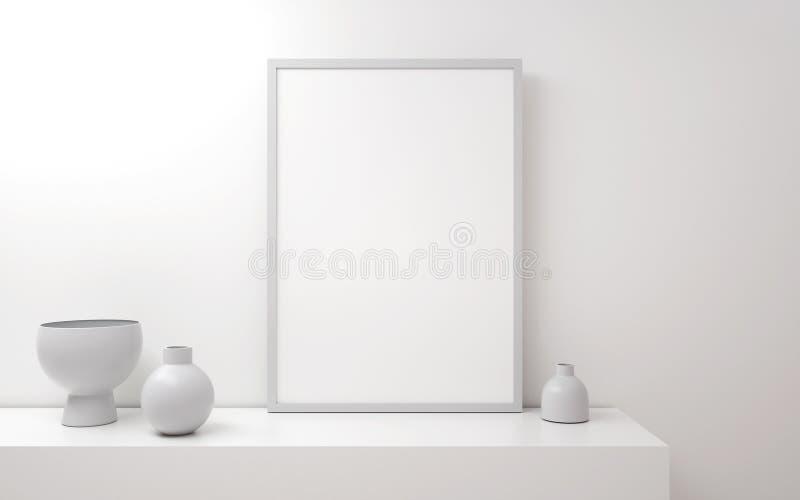 Minimalistic plantilla del cartel a4 o a3 de 3d en el interior Mofa encima del cartel stock de ilustración