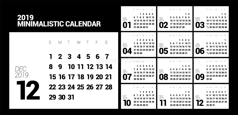 Minimalistic projekta kalendarz dla 2019 rok jeden kolor ilustracja wektor
