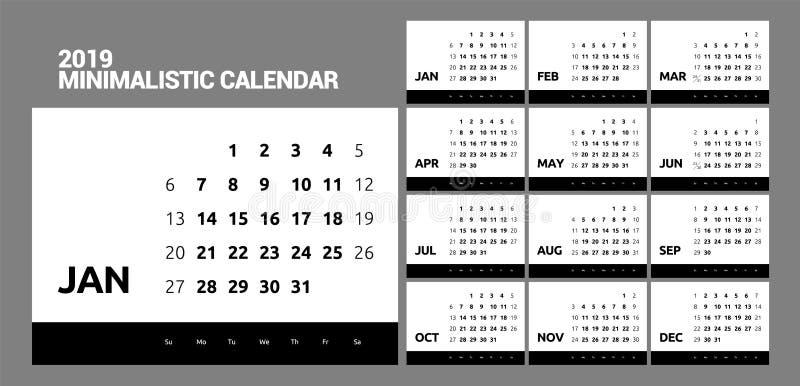 Minimalistic projekta kalendarz dla 2019 rok jeden kolor royalty ilustracja
