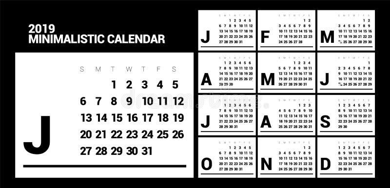 Minimalistic projekta kalendarz dla 2019 rok jeden kolor ilustracji