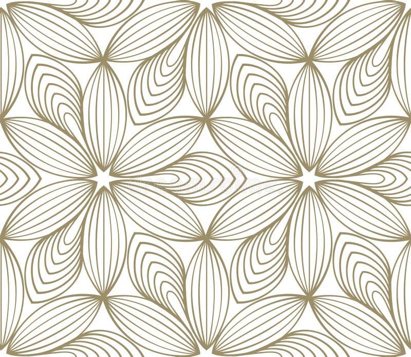 Minimalistic que repete o teste padrão de flor linear ilustração do vetor