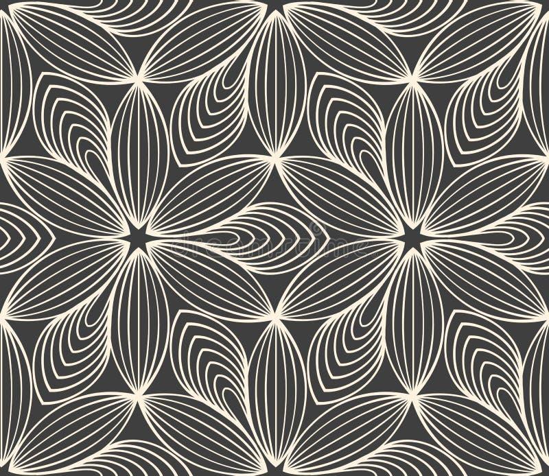 Minimalistic répétant le modèle de fleur linéaire illustration stock