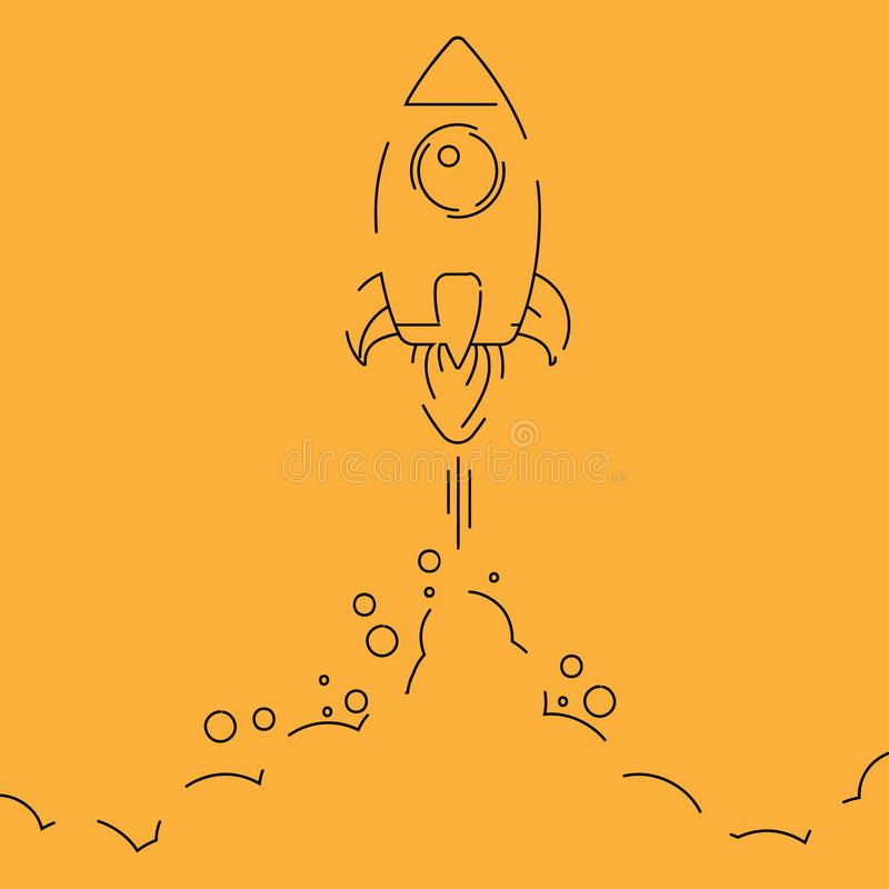 Minimalistic rocket launch line icon. Rocket illustration with clouds, space and launch fire, line art. vector illustration