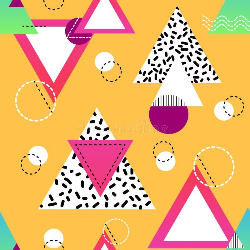 Minimalistic sömlös modell med mångfärgade trianglar och cirklar geometriska former i svarta, vita, rosa och blåa färger stock illustrationer