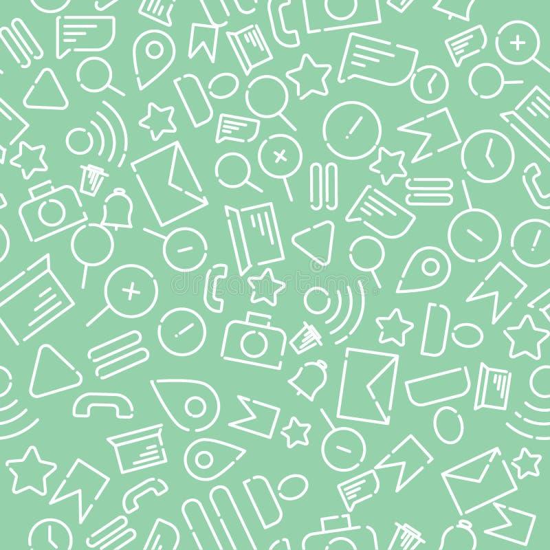 Minimalistic sömlös modell med symboler på temat av rengöringsduken, internet, applikationer, telefon Vit vektor på en ny mintkar royaltyfri illustrationer