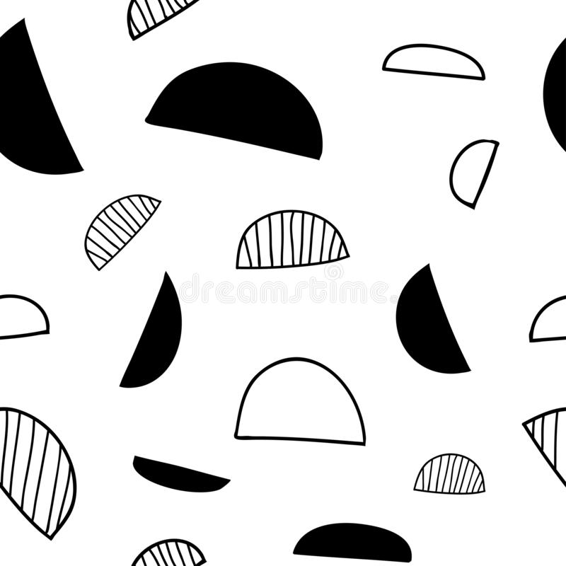 Minimalistic seamless geometric semicircle pattern with abstract monochrome shapes vector illustration