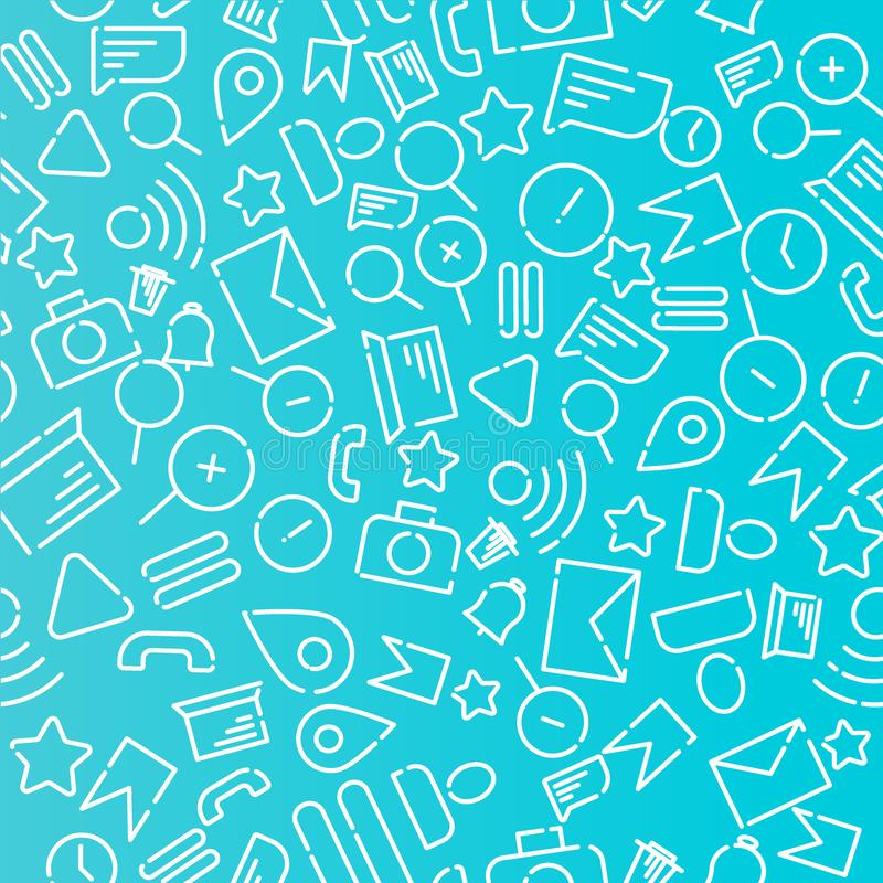 Minimalistic seamless pattern with icons on the theme of web, internet, applications, telephone. White vector on a blue background vector illustration