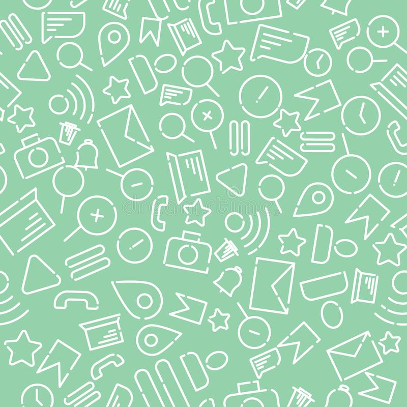 Minimalistic seamless pattern with icons on the theme of web, internet, applications, telephone. White vector on a new mint stock photos