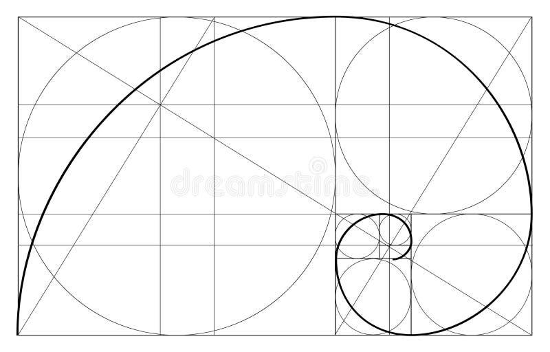 Minimalistic stildesign guld- förhållande geometriska former Cirklar i guld- proportion Futuristic design logo gears symbolen _ stock illustrationer